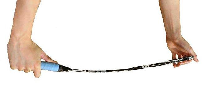 Flexibilidad de una raqueta de bádminton.