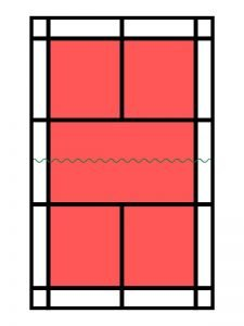 cuál es lazona de juego de la pista de dobles en minibádminton en power bádminton