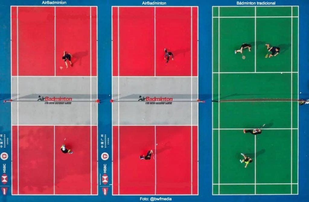 comparativa pistas de AirBadminton versus pista de bádminton tradicional